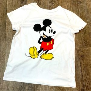 Classic Micky Mouse white short sleeve T shirt